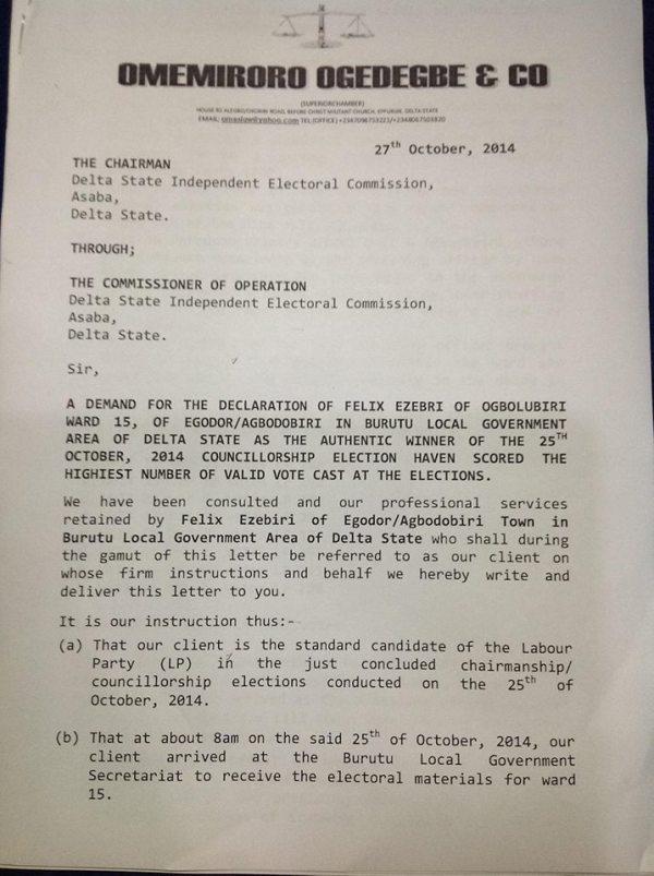 Ogedegbe - Electoral Fraud